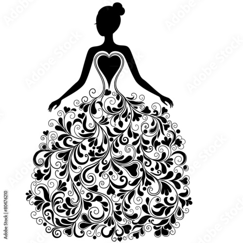 Quot Vector Silhouette Of Beautiful Dress Quot Stock Image And