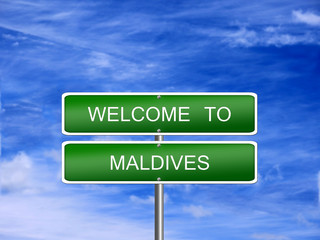 Maldives Welcome Travel Sign