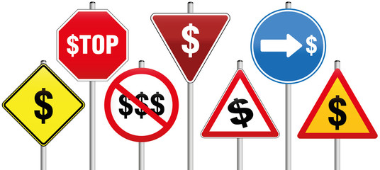 Traffic Signs Dollar Symbol Business