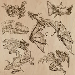 Dragons. An hand drawn vectors in one pack.