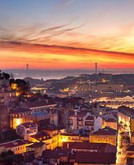 Fototapete - Lisbon cityscape at sunset