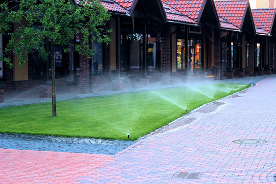 Irrigation system watering the lawn