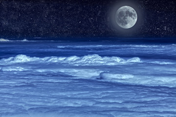 Stellar sky and moon.