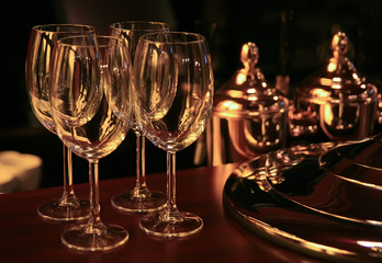wine glasses on bar counter