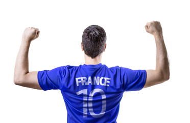 French soccer player celebrating on white background