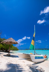 Wall Murals Caribbean Catamaran over a wonderful tropical beach