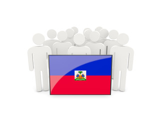 People with flag of haiti