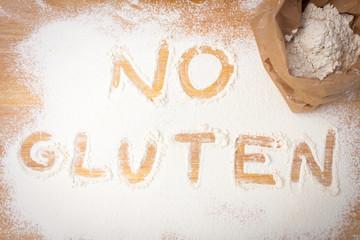 the words NO GLUTEN written on gluten free flour
