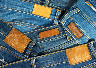Jeans with leather label texture and background