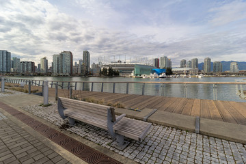 Vancouver BC City Skyline View from Boardwalk