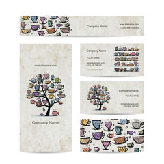Art tree with mugs and cups. Business cards design