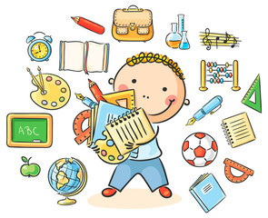Wall Mural - Boy with School Things