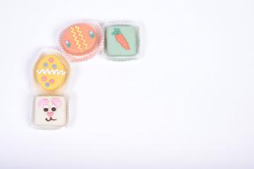 Upper left frame corner made from small Easter cakes