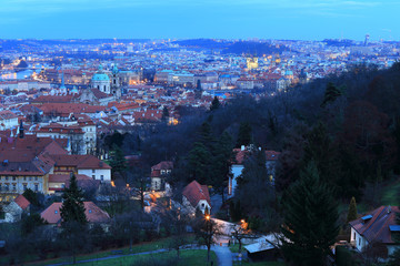 PragueCity above River Vltava after sunset