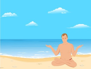 Yogas the man sits on a beach and meditates
