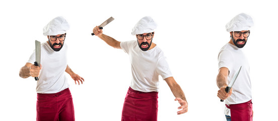 Angry chef attacking with knife