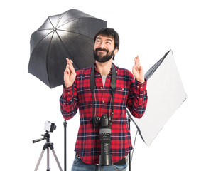 Photographer pleading over white background