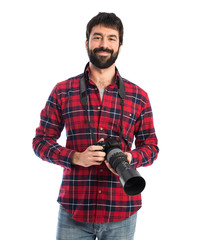 Photographer over white background