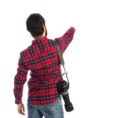 Photographer pointing back