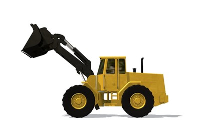 Wheel loader bulldozer isolated on white background