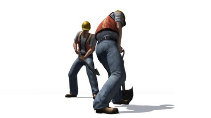 Construction worker with helmet and shovel
