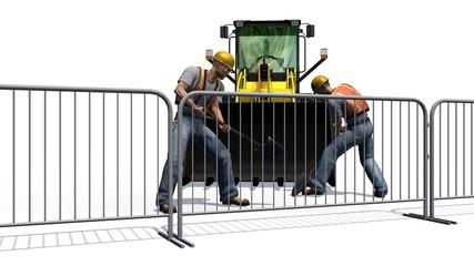 construction bulldozers, construction worker behind roadblock