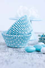 baking cake cups with sugar coated candy