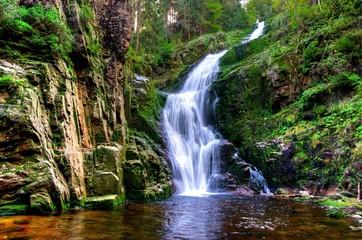 Fototapeta Waterfall in mountains. Kamienczyk Karkonosze, Poland obraz