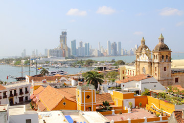 Cartagena, Colombia skyline. Historic city, bocagrande and port