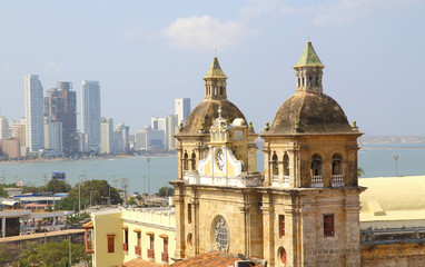 Church of St Peter Claver and bocagrande in Cartagena
