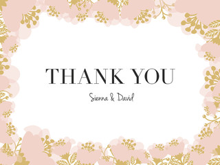 Floral Thank You Card after wedding. Vector design.