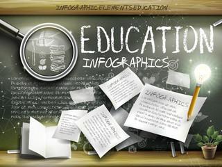 attractive infographic element over blackboard background
