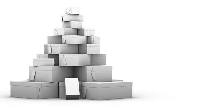 stack of shoe boxes on a white background