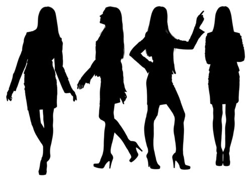 Business woman standing silhouette