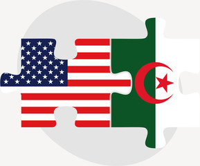 USA and Algeria Flags in puzzle