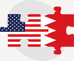 USA and Bahrain Flags in puzzle