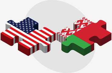USA and Belarus Flags in puzzle