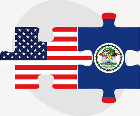 USA and Belize Flags in puzzle