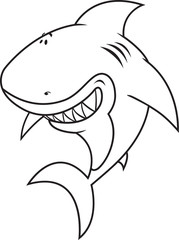 Happy,silly looking shark coloring book illustration