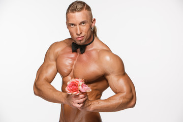 the very muscular handsome sexy guy on white background, naked