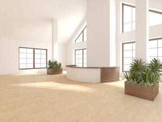 white empty interior concept with panoramic windows