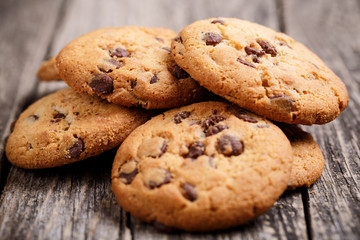 Cookies on a wooden table.