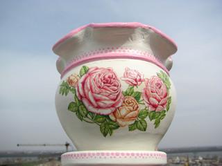 Decoupage on flower pot