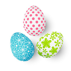 Easter color eggs on white background