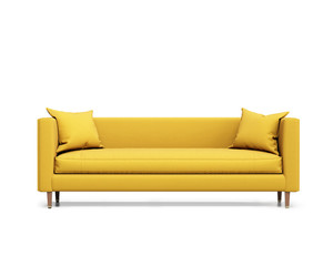Isolated contemporary yellow sofa with cushions