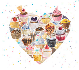 Heart with cupcakes. Watercolor