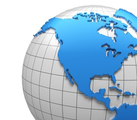 USA. 3D. Globe of USA with national borders, two clipping paths
