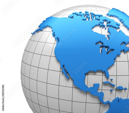 USA D Globe Of USA With National Borders Two Clipping Paths - Globe of usa
