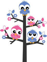 pink and blue owls in a tree