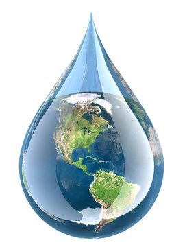 Water. 3D. Earth Droplet